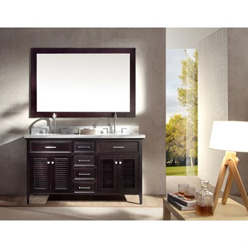 "Ariel Kensington 61"" Double Sink Vanity Set with Carrera White Marble Countertop, Espresso D061D-ESP by Ariel"