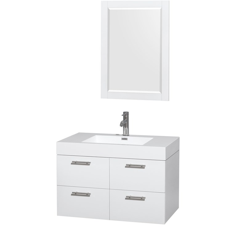"Amare 36"" Wall-Mounted Bathroom Vanity Set With Integrated Sink by Wyndham Collection - Glossy White WC-R4100-36-VAN-WHT-"