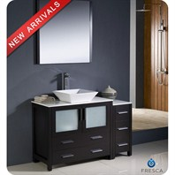 "Fresca Torino 48"" Espresso Modern Bathroom Vanity with Side Cabinet & Vessel Sink FVN62-3612ES-VSL"