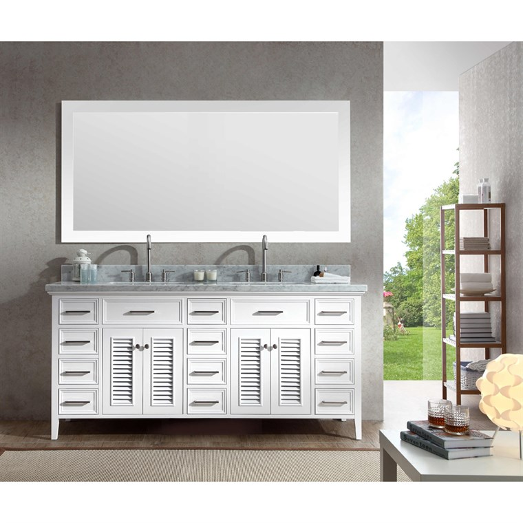 "Ariel Kensington 73"" Double Sink Vanity Set with Carrera White Marble Countertop - White D073D-WHT"