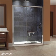 "Bath Authority DreamLine Infinity-Z Frameless Sliding Shower Door and SlimLine Single Threshold Shower Base (30"" by 60"") DL-6970"