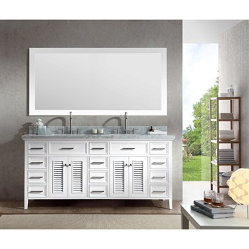 "Ariel Kensington 73"" Double Sink Vanity Set with Carrera White Marble Countertop, White D073D-WHT by Ariel"
