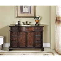 "Stufurhome 48"" Amelia Single Sink Vanity with Baltic Brown Granite Top - Cherry Red and Light Brown GM-5116-48-BB"