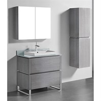 "Madeli Metro 36"" Bathroom Vanity for Glass Counter and Porcelain Basin - Ash Grey B600-36-001-AG-GLASS"