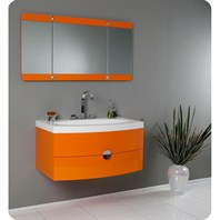 Fresca Energia Orange Modern Bathroom Vanity with Three Panel Folding Mirror FVN5092OR