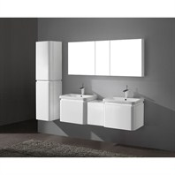 "Madeli Euro 60"" Double Bathroom Vanity with Integrated Basins - Glossy White 2X-B930-24-002-GW, UC930-12-007-GW"
