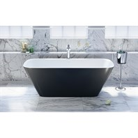 Aquatica Arabella-Blck-Wht Freestanding Solid Surface Bathtub - Matte Black and White Aquatica Arab-Blck-Wht