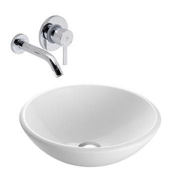 Vigo White Phoenix Stone Vessel Sink with Olus Wall Mount Faucet Set VGT212- by Vigo Industries