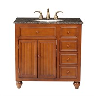 "Stufurhome 36"" Mary Single Sink Vanity with Baltic Brown Granite Top - Rich Brown GM-2214-36-BB"