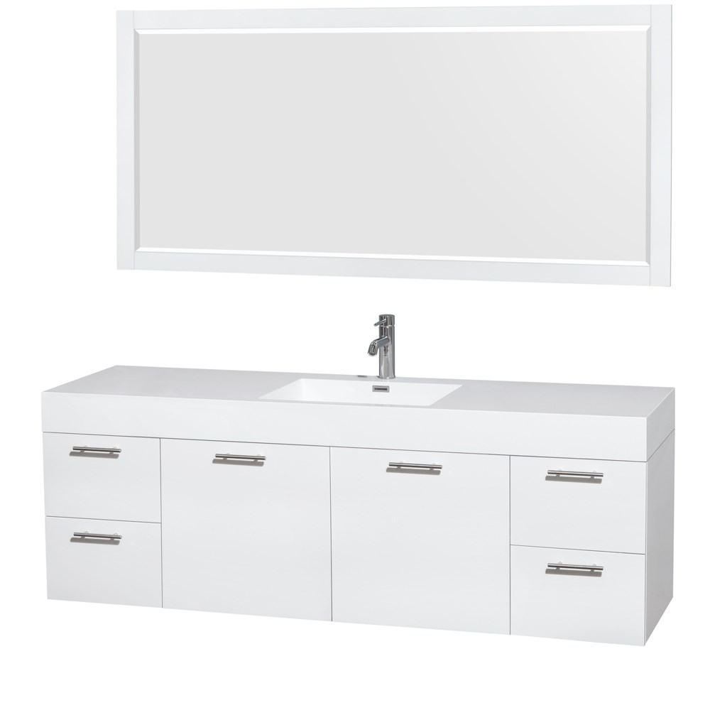 "Amare 72"" Single Bathroom Vanity in Glossy White, Acrylic-Resin Countertop, Integrated Sink, and 70"" Mirror WCR410072SGWARINTM70"