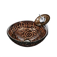 VIGO Aztec Glass Vessel Sink and Waterfall Faucet Set VGT024-ROUND
