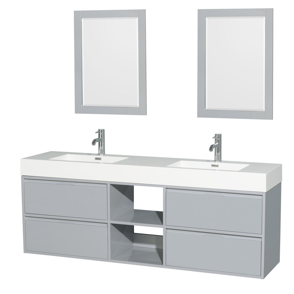 """Daniella 72"""" Wall-Mounted Double Bathroom Vanity Set With Integrated Sinks by Wyndham Collection - Dove Graynohtin Sale $1399.00 SKU: WC-R4600-72-VAN-DVG :"""