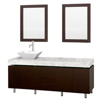 "Malibu 72"" Single Bathroom Vanity Set by Wyndham Collection - Espresso Finish with White Carrera Marble Counter WC-CG3000-72-ESP-WHTCAR-SINGLE-"