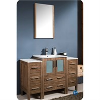 "Fresca Torino 48"" Walnut Brown Modern Bathroom Vanity with 2 Side Cabinets & Integrated Sink FVN62-122412WB-UNS"