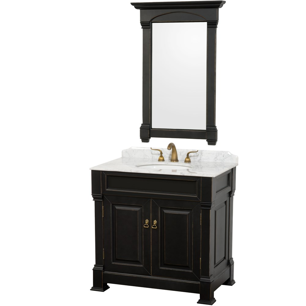 "Andover 36"" Traditional Bathroom Vanity Set by Wyndham Collection - Black WC-TS36-BLK"