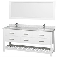 "Natalie 72"" Double Bathroom Vanity Set by Wyndham Collection - White with White Carrera Marble Countertop WC-OM-2111-72-WHT-CAR"