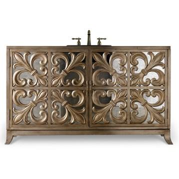 """Cole & Co. 56"""" Designer Series Fleur-De-Lis Vanity, Handpainted Matte Gold Leaf 11.22.275556.71 by Cole & Co."""