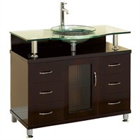 "Charlton 42"" Bathroom Vanity with Drawers - Espresso w/ Clear or Frosted Glass Counter"