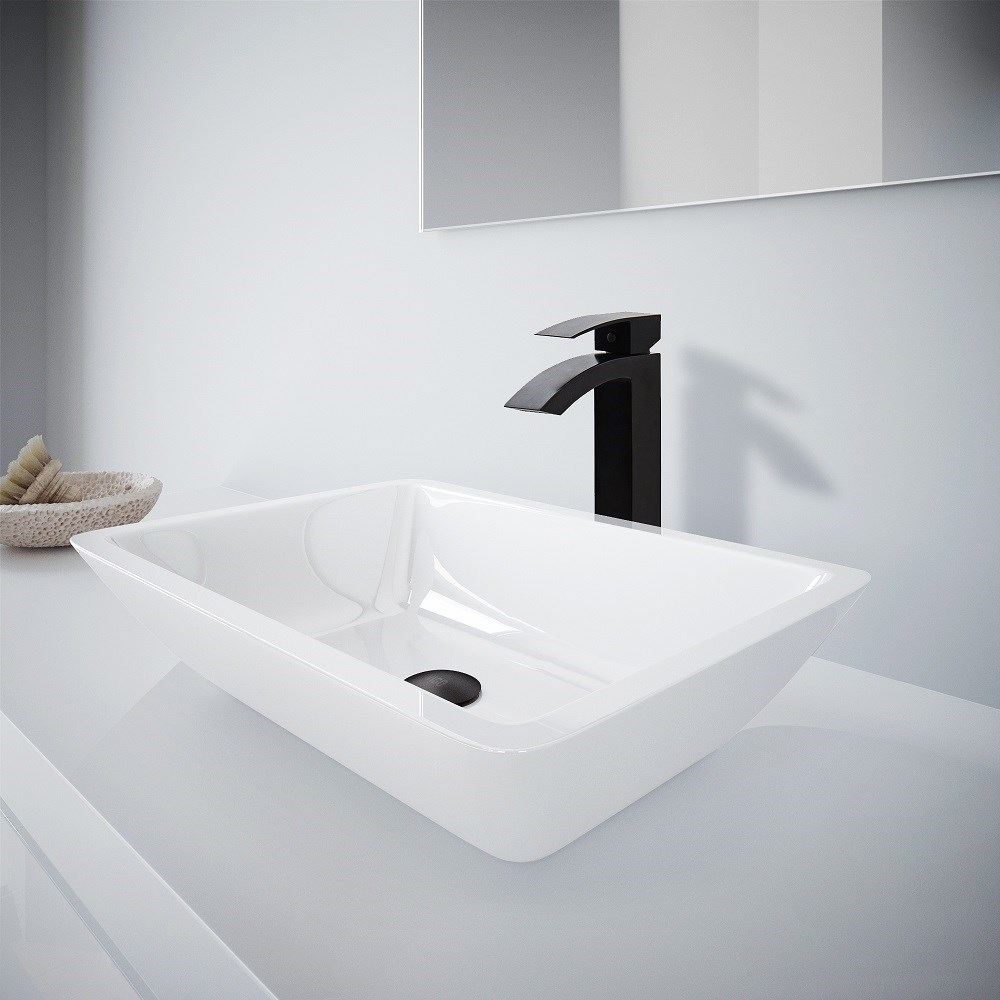 VIGO White Phoneix Stone Vessel Bathroom Sink And Duris Vessel Faucet Set in Matte Black VGT1099