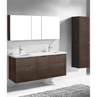 "Madeli Bolano 60"" Double Bathroom Vanity for Quartzstone Top - Walnut B100-60D-022-WA-QUARTZ"