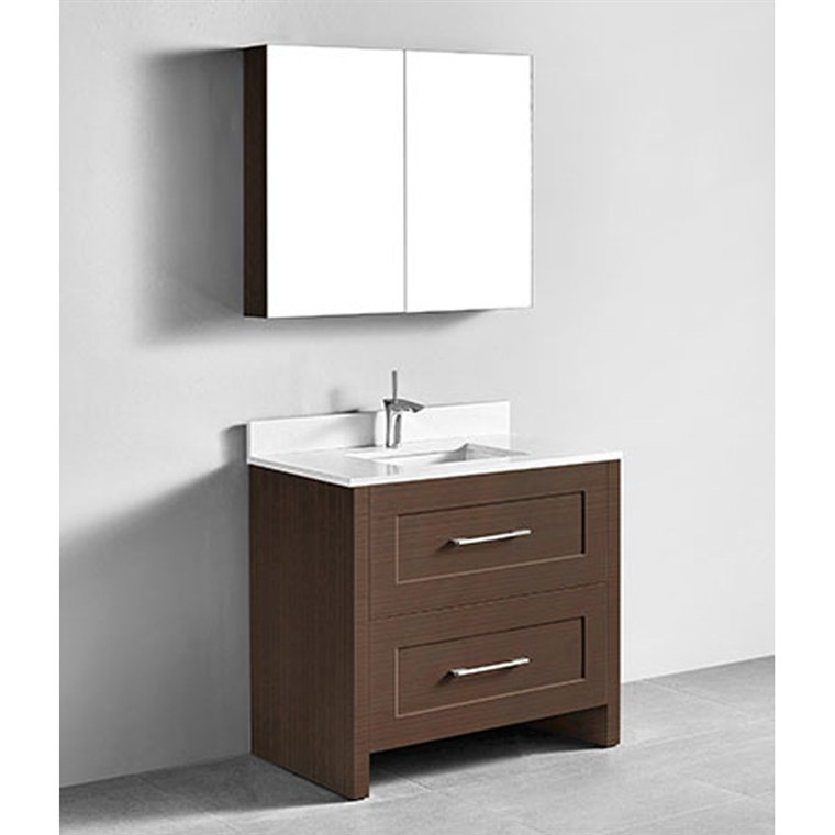 "Madeli Retro 36"" Bathroom Vanity for Quartzstone Top - Walnut B700-36-001-WA-QUARTZ"