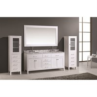 "Design Element London 72"" Double Vanity Set with 2 Linen Cabinets - White DEC076B-W_CAB004-WX2"
