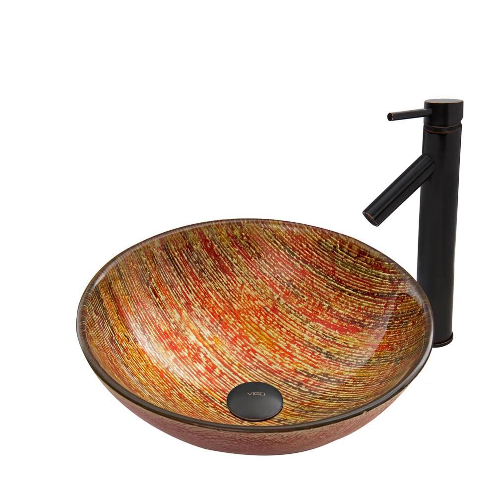 VIGO Blazing Fire Glass Vessel Sink and Dior Faucet Set in Antique Rubbed Bronze Finishnohtin Sale $235.90 SKU: VGT534 :