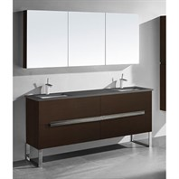 "Madeli Soho 72"" Double Bathroom Vanity for Quartzstone Top - Walnut B400-72D-001-WA-QUARTZ"