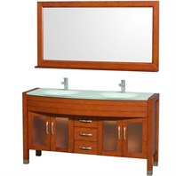 "Daytona 60"" Double Bathroom Vanity with Mirror by Wyndham Collection - Cherry WC-A-W2200-60-CH"
