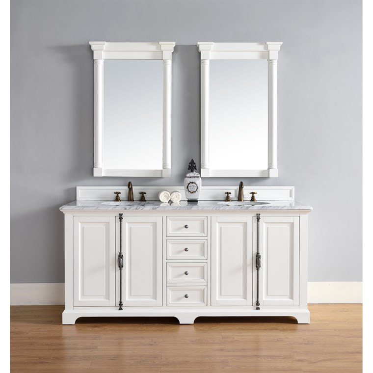 "James Martin 72"" Providence Double Cabinet Vanity - Cottage White 238-105-V72-CWH"