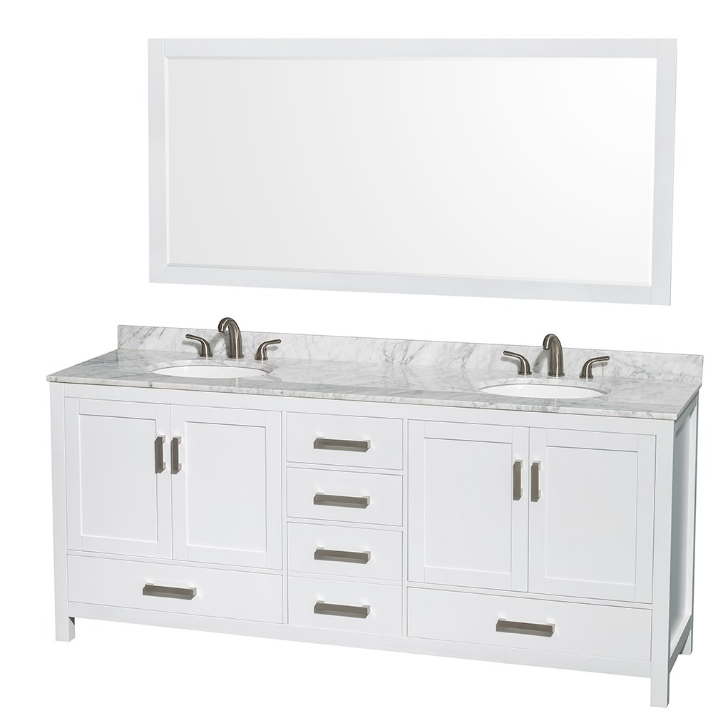 sheffield 80 double bathroom vanity by wyndham collection white free shipping modern bathroom - Double Sink Bathroom Vanities