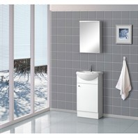 "Bath Authority DreamLine 18"" Floor Standing Modern Bathroom Vanity with Counter and Medicine Cabinet - White DLVRB-102-WH"