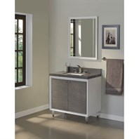 "Fairmont Designs Park Central 36"" Vanity - Glossy White / Silvered Oak 1531-V36"