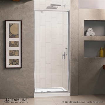 "DreamLine Flex 28-32"" Adjustable W x 32"" D x 74-3/4"" H Frameless Shower Door and Base Kit, Chrome Finish... by Bath Authority DreamLine"