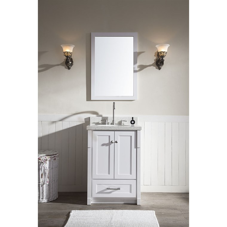 "Ariel Adams 25"" Single Sink Vanity Set with White Quartz Countertop - White L025S-WHT"
