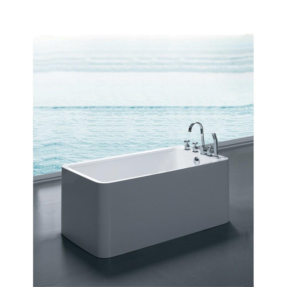 Freestanding Acrylic Bathtub With Overflow - 55 inch freestanding tub