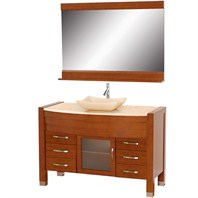 "Daytona 55"" Bathroom Vanity with Mirror - Cherry Finish A-W2109T-55-CH-IVO"