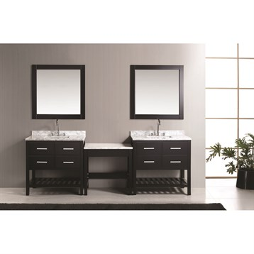 "Design Element London Two 36"" Vanities with Open Bottom and Make-up Table, Espresso DEC077AX2_MUT by Design Element"