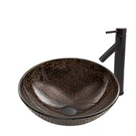 VIGO Copper Shield Glass Vessel Sink and Dior Faucet Set in Antique Rubbed Bronze Finish VGT806