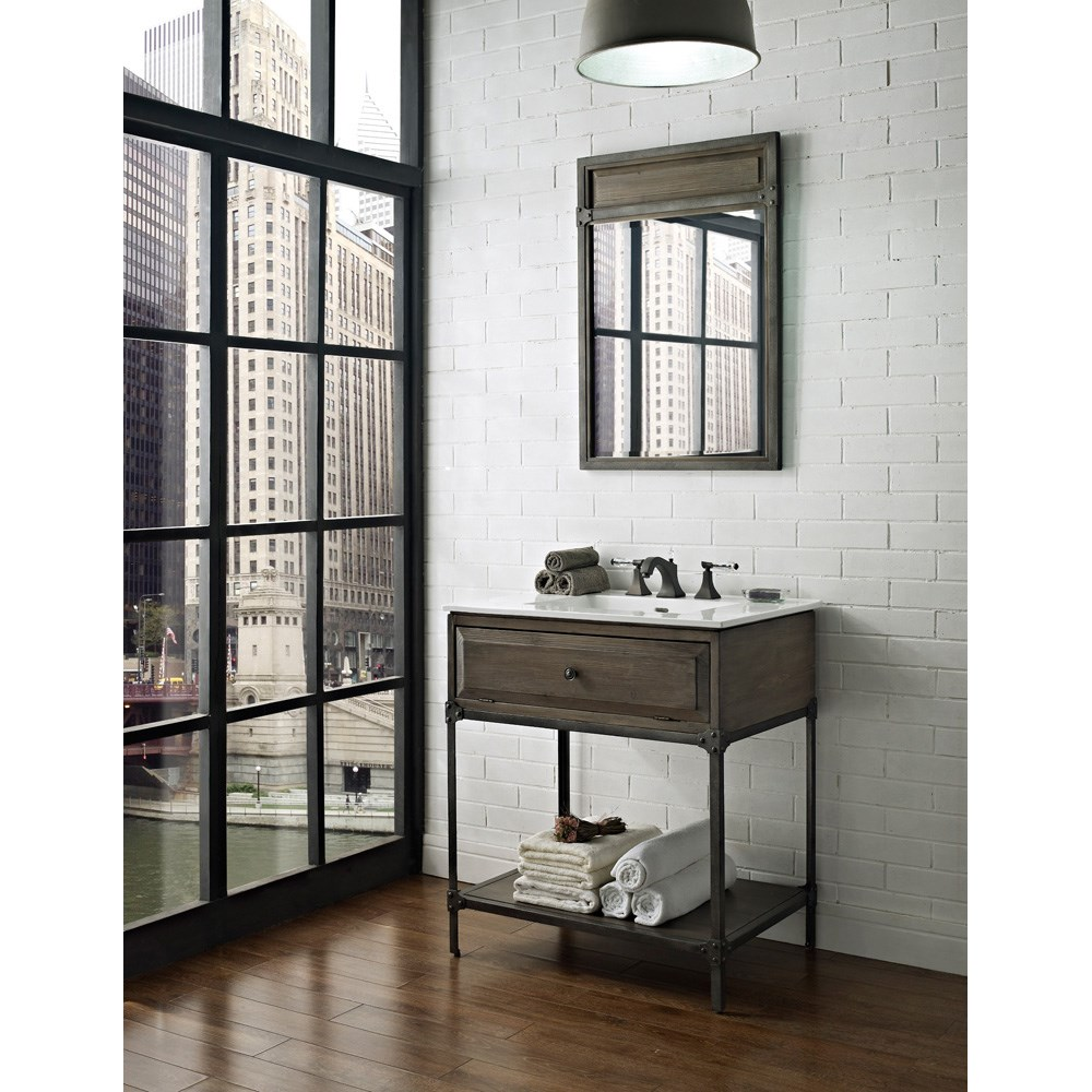 "Fairmont Designs 30"" Toledo Open Shelf Vanity with Integrated Sink Option - Driftwood Graynohtin"