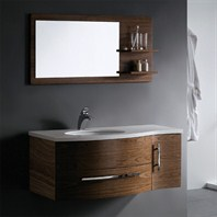 Vigo 44-inch Single Bathroom Vanity with Mirror and Shelves - Black Walnut VG09005108LHK