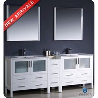 "Fresca Torino 84"" White Modern Double Sink Bathroom Vanity with Side Cabinet, Integrated Sinks, and Mirrors FVN62-361236WH-UNS"