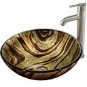 VIGO Zebra Glass Vessel Sink and Faucet Set in Brushed Nickel VGT161