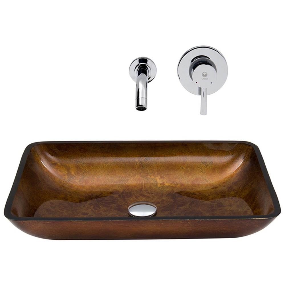 VIGO Rectangular Russet Glass Vessel Sink and Wall Mount Faucet Setnohtin Sale $219.90 SKU: VGT302- :