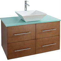 "Bianca 36"" Wall-Mounted Modern Bathroom Vanity - Pear Wood WHE007-36-PR"