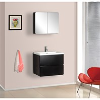Bath Authority DreamLine Wall-Mounted Modern Bathroom Vanity with Porcelain Counter and Medicine Cabinet - Black DLVRB-104-BK