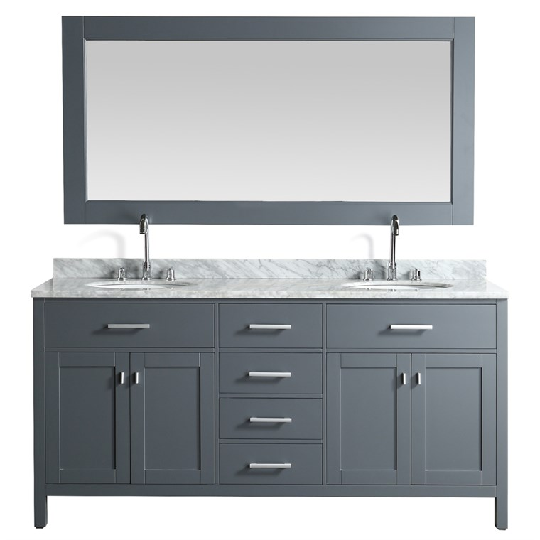 "Design Element London Stanmark 72"" Double Sink Vanity Set - Gray DEC076B-G"