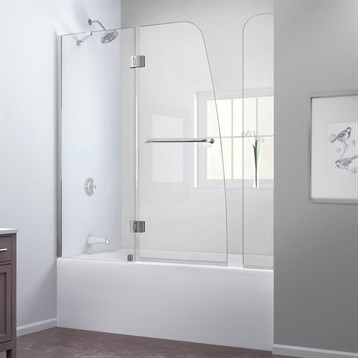 "Bath Authority DreamLine Aqua Frameless Hinged Tub Door, 56"", 60"" with Extender Panel SHDR-3148586-EX by Bath Authority DreamLine"