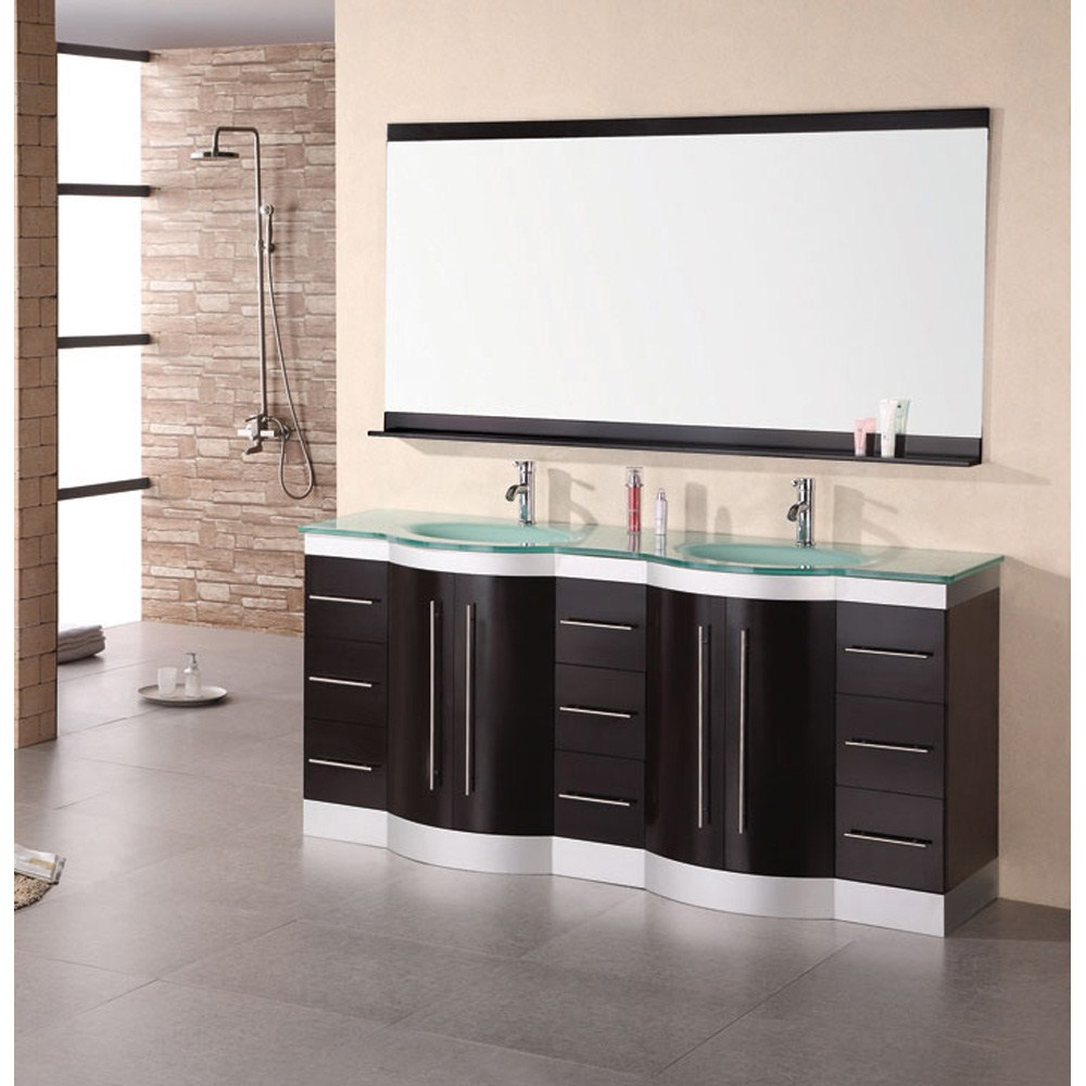 Design Element Jade 72 Double Sink Vanity Set W Tempered Gl Countertop Espresso