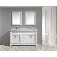 "Design Element Hudson 60"" Double Sink Vanity Set - White DEC059C-W-W"